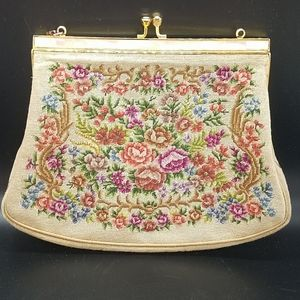 Handbags - Vintage Petit Point Handbag cream and floral